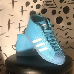 Adidas baby blue pro Model shell toe high tops!